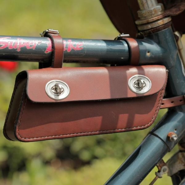 Fahrrad-Rahmentasche längs, braun