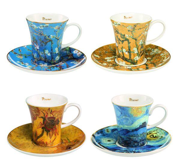 4 Espressotassen mit Künstlermotiven im Set nach Vincent van Gogh