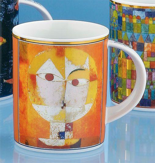 Vier Kaffeebecher mit Künstlermotiven, nach Paul Klee
