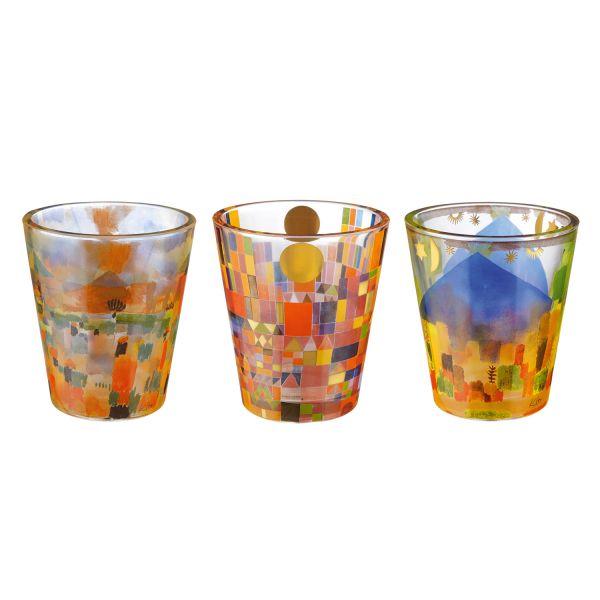 Drei Windlichter im Set mit Paul-Klee-Motiven