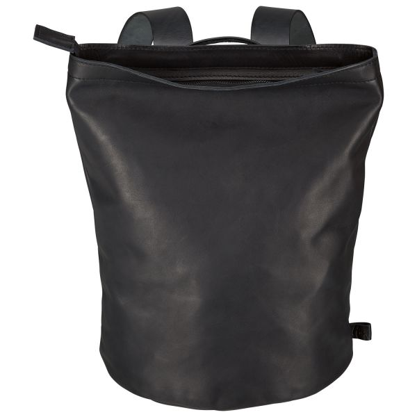 ZEIT-Rucksack aus Rindleder Schwarz