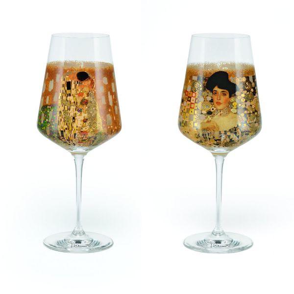 2 Weingläser im Set nach Gustav Klimt