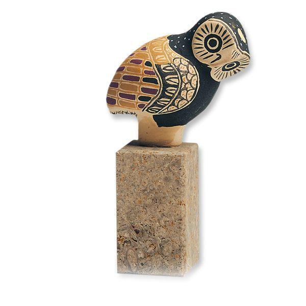 Skulptur »Griechische Eule«, Keramik auf Steinsockel