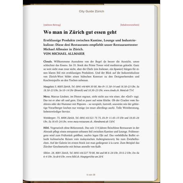 »Zürich - DIE ZEIT CITY GUIDE«