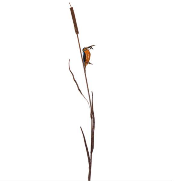 Gartenskulptur »Eisvogel auf Schilfrohr«