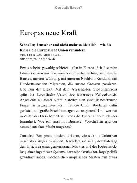 »Quo vadis Europa?«