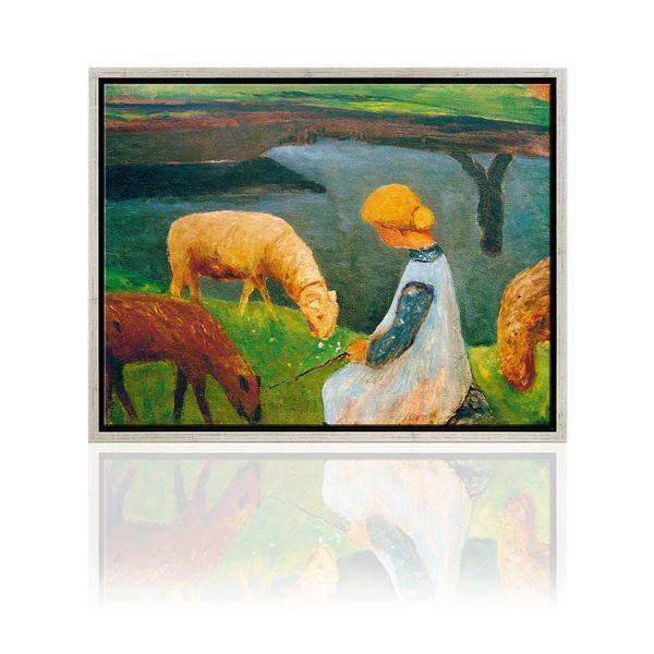 Modersohn-Becker, Paula: »Sitzendes Mädchen mit Schafen am Weiher I« (1900)