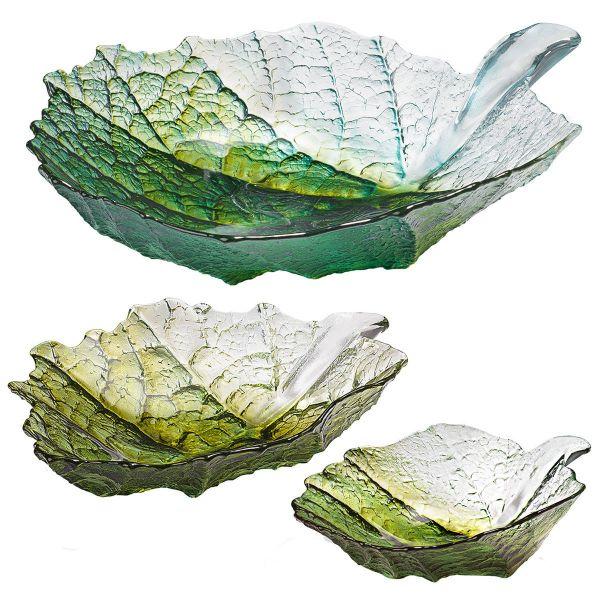 3 Glasschalen »Ahornblatt« im Set nach Mats Jonasson