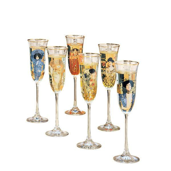 6-teiliges Sektgläser-Set, nach Gustav Klimt