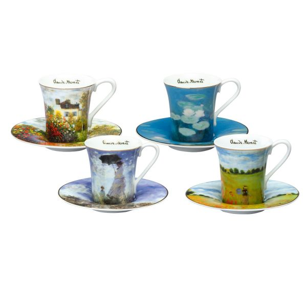 Espressotassen 4-teiliges Set, nach Claude Monet