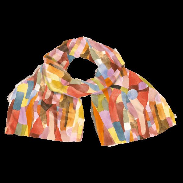 Seidenschal »Gewölbte Kammern«, nach Paul Klee