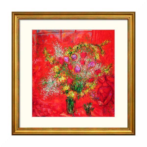 Chagall, Marc: »Fleurs sur fond rouge«, 1970