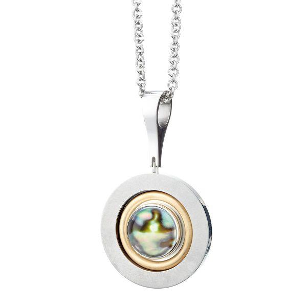 Bergkristall-Collier Gelbgoldscheibe auf Sterling Silber