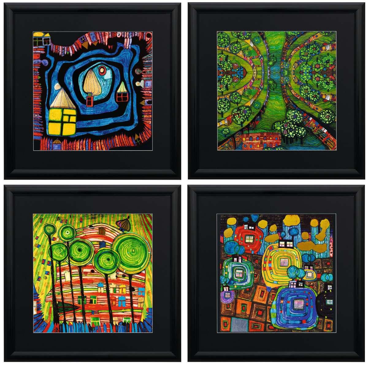 Hundertwasser, Friedensreich: Vier Bilder im Set   Kunstdrucke ...