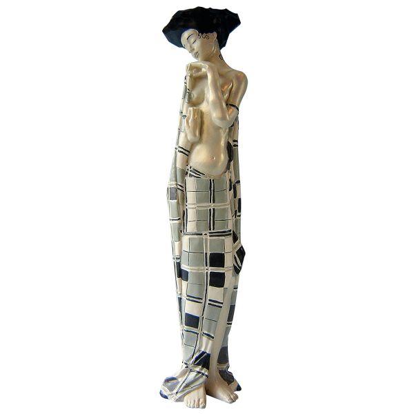 Schiele, Egon: »Gerti Schiele in kariertem Tuch«, 1908/09