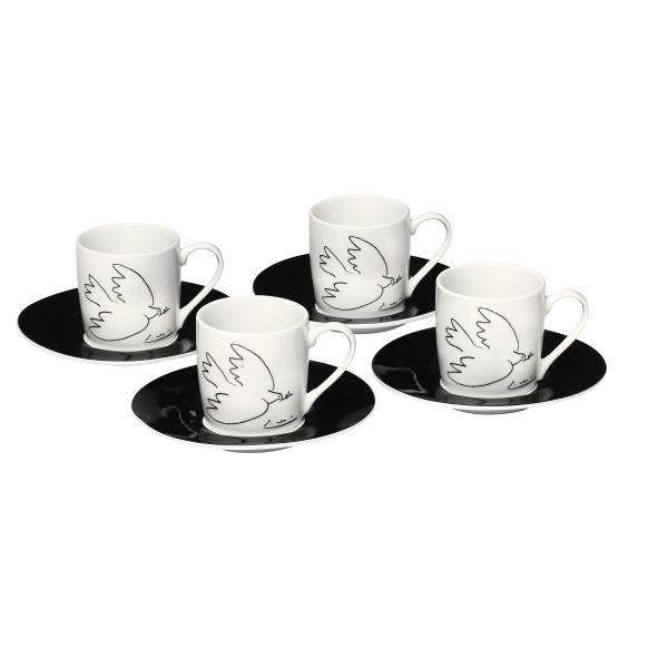 4-teiliges Espressotassen-Set »La Colombe de la Paix«, nach Pablo Picasso