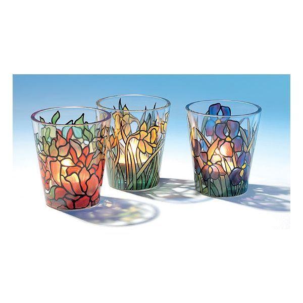 3 Glas-Windlichter im Set, nach Louis C. Tiffany