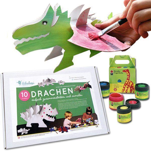 Papp-Drachen mit Fingerfarben-Set