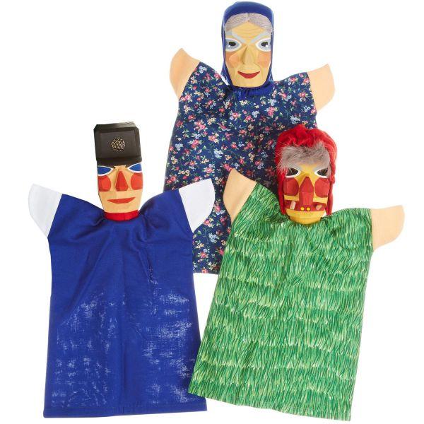 Kasperfiguren Set 2 (Großmutter, Schutzmann, Hexe)