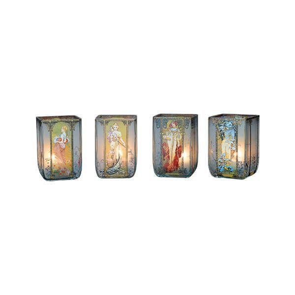 Jugendstil-Teelichter »Vier Jahreszeiten«, nach Alphonse Mucha