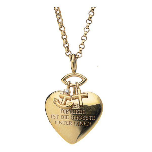 Herz-Anhänger mit Kette »Glaube, Liebe, Hoffnung«