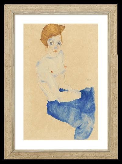 Schiele, Egon: »Sitzendes Mädchen mit nacktem Oberkörper und blauem Rock«, 1911