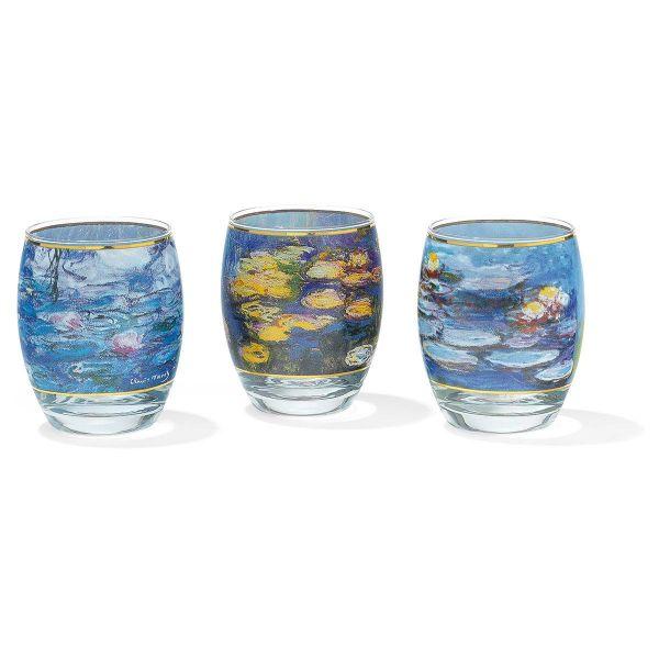 3 Teelichtgläser im Set nach Claude Monet