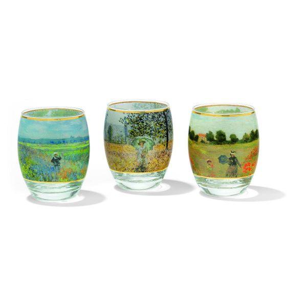 3 Teelichtgläser mit Künstlermotiven im Set nach Claude Monet