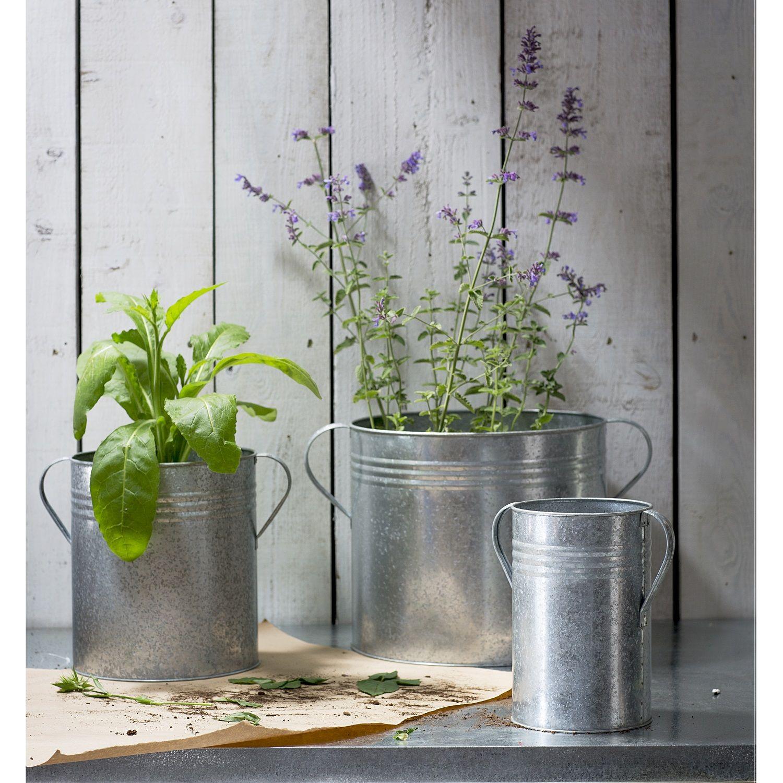 3er set pflanzt pfe aus verzinktem stahl m bel accessoires garten balkon sortiment. Black Bedroom Furniture Sets. Home Design Ideas