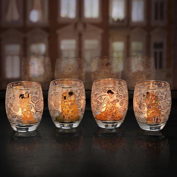 Vier Teelichtgläser nach Gustav Klimt