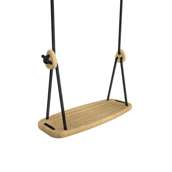 Kinder-Schaukel »Classic« Schaukelsitz aus Eiche, schwarze Seile
