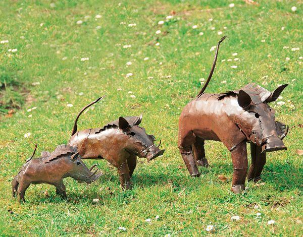 Luwagala: 3 Gartenfiguren »Warzenschweine« im Set