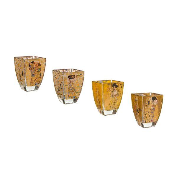 4 Teelichtgläser im Set mit Motiven nach Gustav Klimt