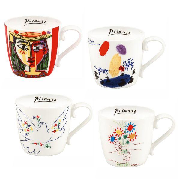 4-teiliges Becherset, nach Pablo Picasso