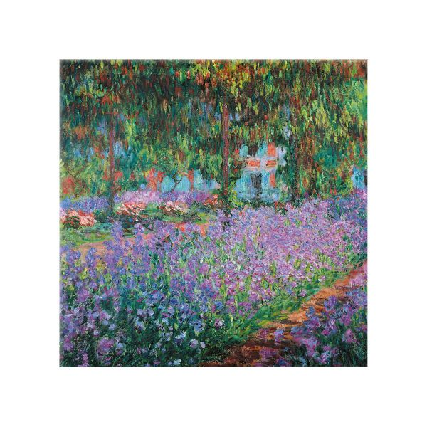Monet, Claude: Glasbild »Irisbeet in Monets Garten«