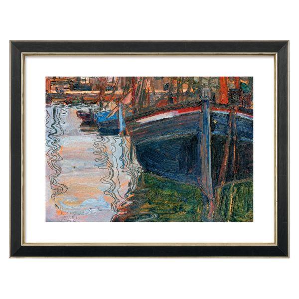 Schiele, Egon: »Boote, sich im Wasser spiegelnd«, 1908