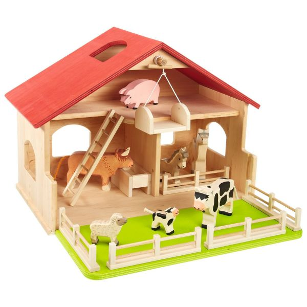 Bauernhof aus Holz mit Zubehör